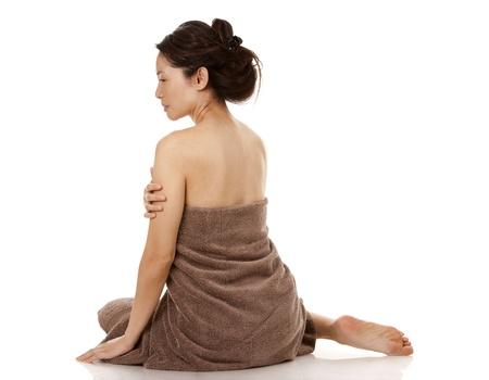 beautiful asian brunette nude on white isolated background Stock Photo - 17699089