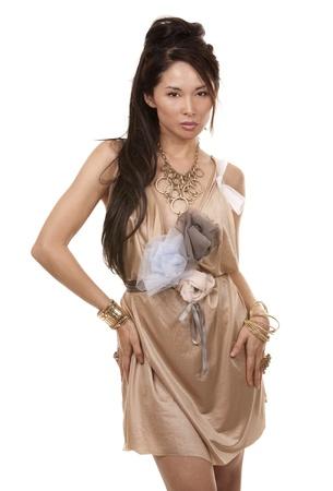 beautiful asian brunette wearing jewellery and fashin dress on white background Stock Photo - 17758845