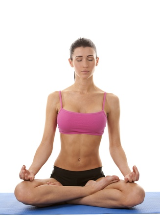 active brunette in yoga position on white isolated background Stock Photo - 17699068