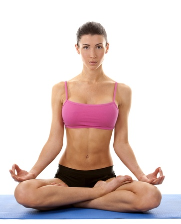 active brunette in yoga position on white isolated background Stock Photo - 17699090