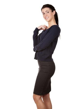 pretty brunette wearing office wear on white background Stock Photo - 17699083