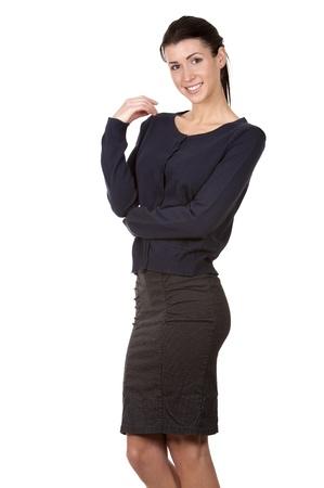 pretty brunette wearing office wear on white background Stock Photo - 17699092