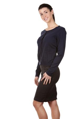 pretty brunette wearing office wear on white background Stock Photo - 17699071