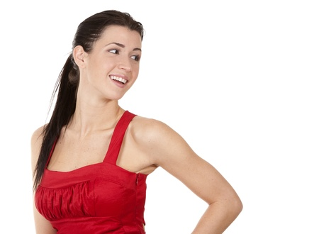 pretty brunette wearing red dress on white background Stock Photo - 17748732