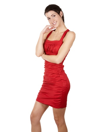 pretty brunette wearing red dress on white background Stock Photo - 17748730
