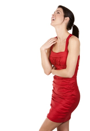 pretty brunette wearing red dress on white background Stock Photo - 17748723