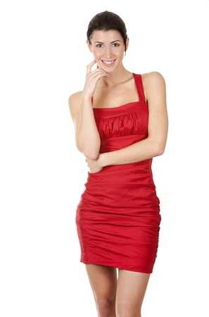pretty brunette wearing red dress on white background Stock Photo - 17748733