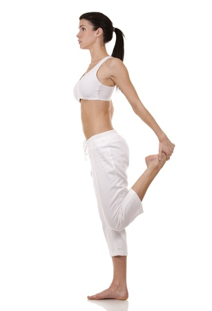 pretty brunette in white active wear on white background Stock Photo - 17748741