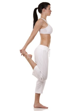 pretty brunette in white active wear on white background Stock Photo - 17748738