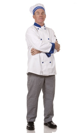 bakers: mature chef wearing workwear on white isolated background Stock Photo