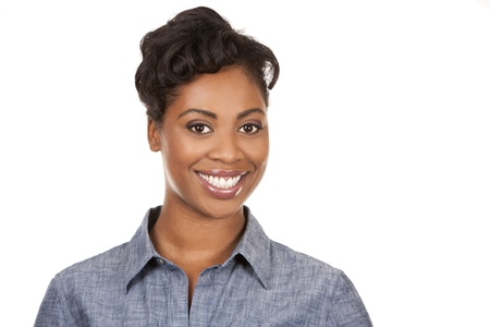 black woman face: pretty dark woman wearing casual outfit on white background Stock Photo
