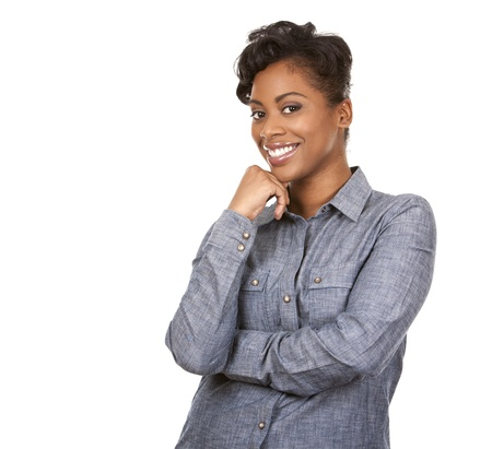 black: pretty dark woman wearing casual outfit on white background Stock Photo