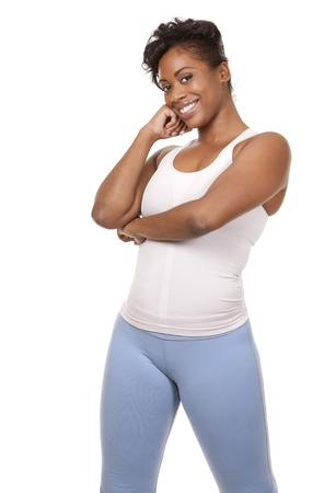 pretty black woman in active wear on white background