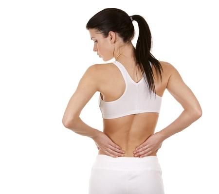 espalda: hermosa morena est� teniendo un dolor en la espalda