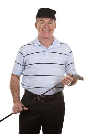 male golfer on white isolated background photo