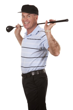 sportsperson: male golfer on white isolated background