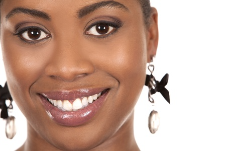pretty black woman's face on white background Stock Photo - 18336014