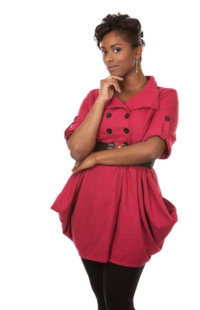 pretty dark woman wearing red dress on white background Stock Photo - 18335996