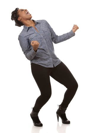 laugher: pretty casual black woman is very happy on white background