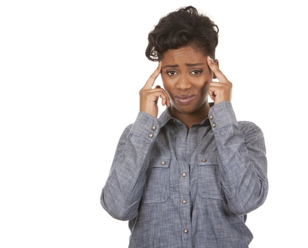 casual black woman with headache on white background Stock Photo - 18468156
