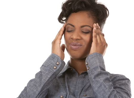 casual black woman with headache on white background Stock Photo - 18468176