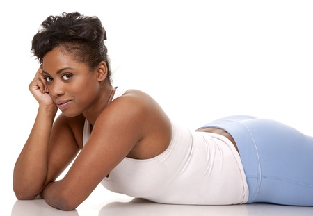 pretty black woman in active wear on white background Stock Photo - 18468162
