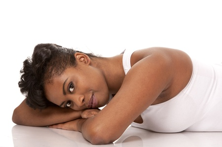 pretty black woman in active wear on white background Stock Photo - 18453244