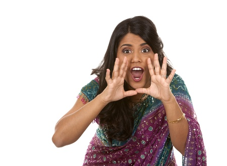 pretty indian woman shouting on white isolated background photo