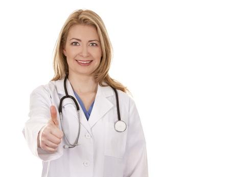 blond female doctor posing on white isolated background Stock Photo - 18843539