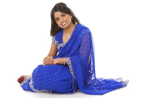 woman wering indian outfit on light grey background Stock Photo - 18843546