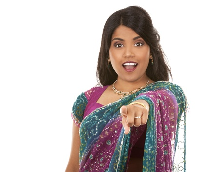 pretty indian woman pointing on white isolated background Stock Photo - 18913153
