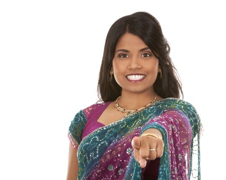 bellydance: pretty indian woman pointing on white isolated background Stock Photo