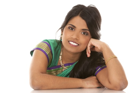 pretty asian woman wering green indian outfit Stock Photo - 18913152