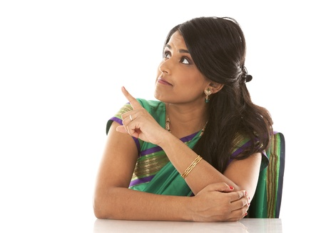 indian saree: pretty asian woman wering green indian outfit Stock Photo