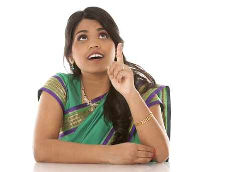 pretty asian woman wering green indian outfit Stock Photo - 18913147