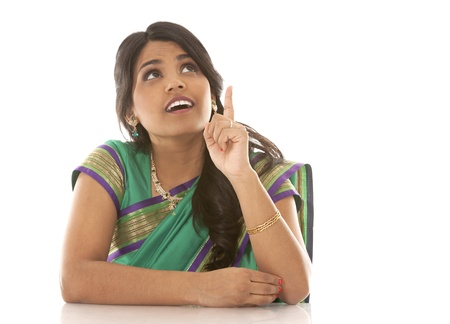 pretty asian woman wering green indian outfit Stock Photo - 18913155