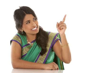 pretty asian woman wering green indian outfit Stock Photo - 18913166