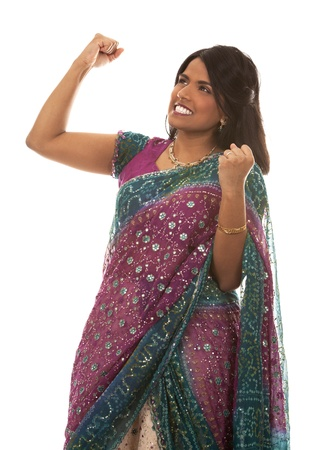 pretty indian woman  winning on white isolated background Stock Photo - 18913113