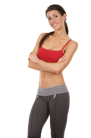 pretty brunette wearing active wear on white background Stock Photo - 19126097