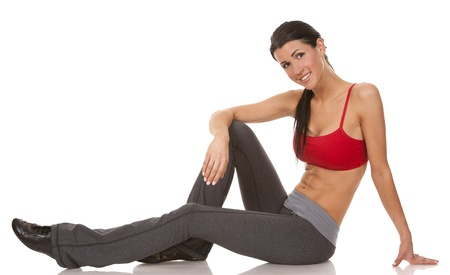 pretty brunette wearing active wear on white background Stock Photo - 19356857