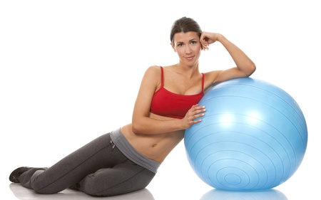 pretty brunette wearing active wear on white background Stock Photo - 19356856