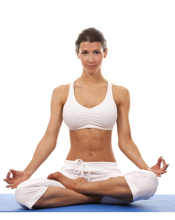 pretty brunette is exercising yoga on white background Stock Photo - 19356854