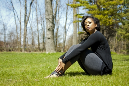 pretty black woman enjoying summer in the park Stock Photo - 19407061