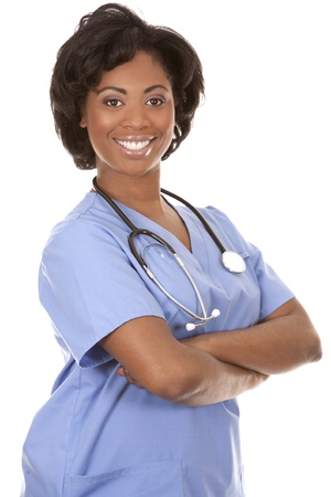 black nurse wearing scrubs on white isolated background Stock Photo - 19458223