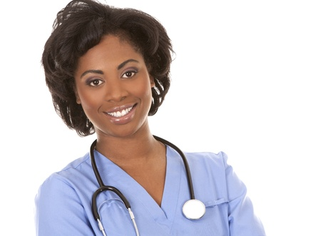 black nurse wearing scrubs on white isolated background Stock Photo - 19458232