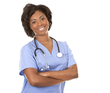 black nurse wearing scrubs on white isolated background Stock Photo - 19457879