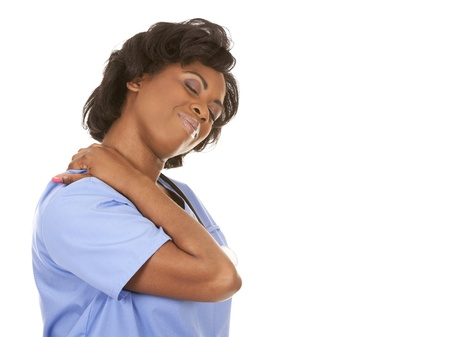 black nurse wearing scrubs on white isolated background Stock Photo - 19458214