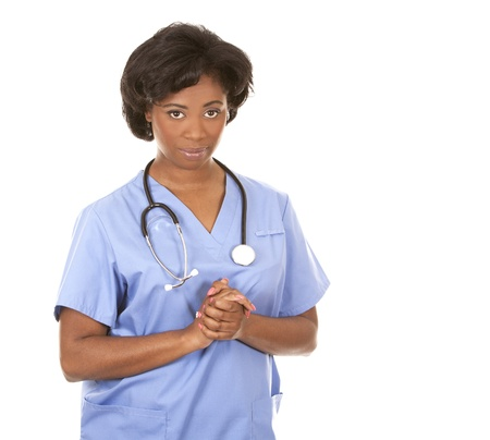 black nurse wearing scrubs on white isolated background Stock Photo - 19457875