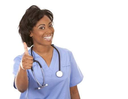 black nurse wearing scrubs on white isolated background Stockfoto