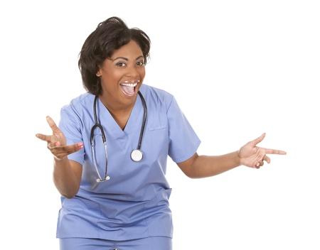 black nurse wearing scrubs on white isolated background Stock Photo - 19457880